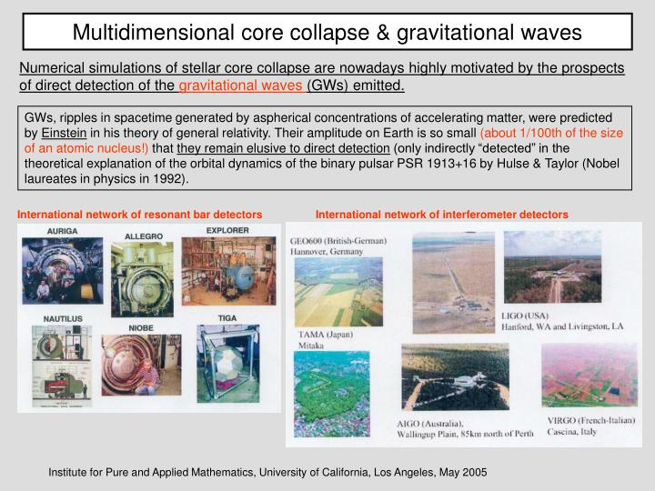 Multidimensional core collapse & gravitational waves