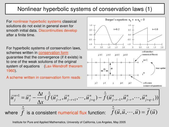 Nonlinear hyperbolic systems of conservation laws (1)