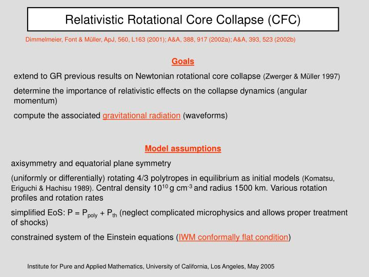 Relativistic Rotational Core Collapse (CFC)