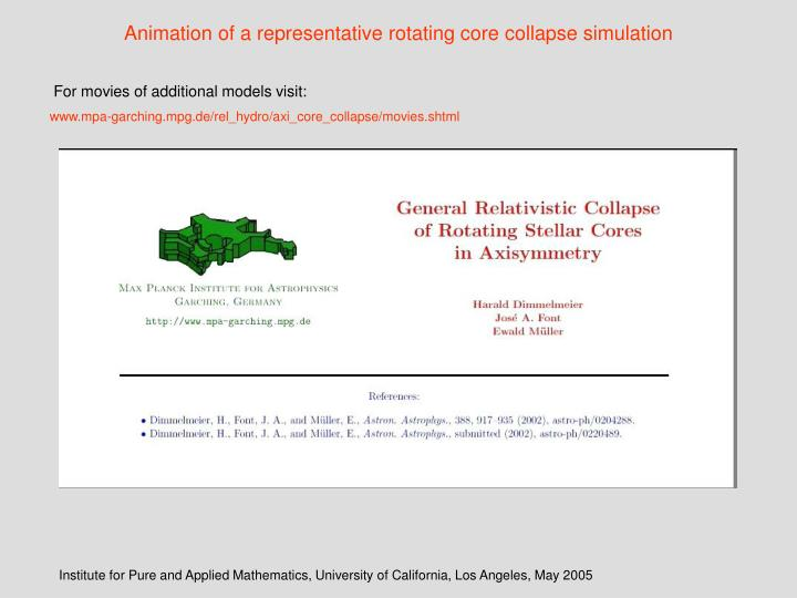 Animation of a representative rotating core collapse simulation