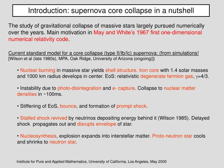 Introduction: supernova core collapse in a nutshell