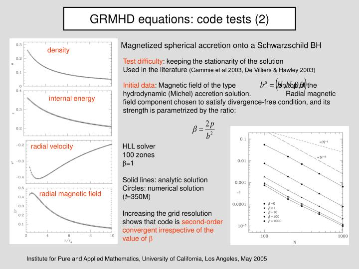 GRMHD equations: code tests (2)