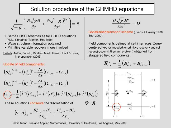 Solution procedure of the GRMHD equations