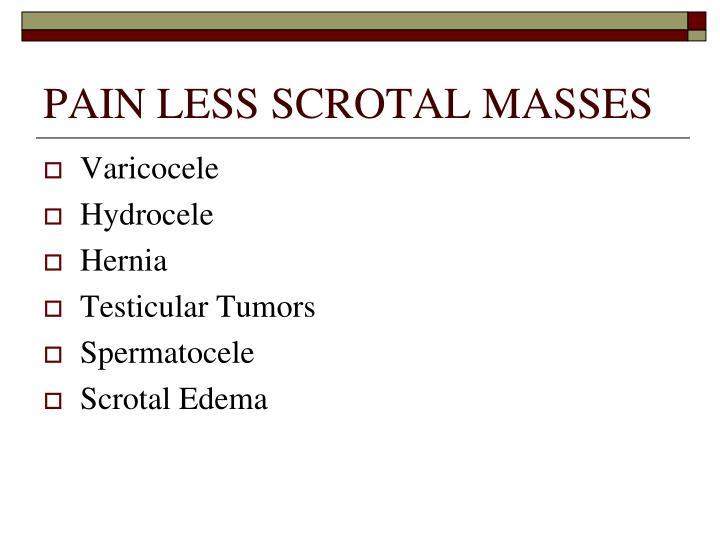 PAIN LESS SCROTAL MASSES