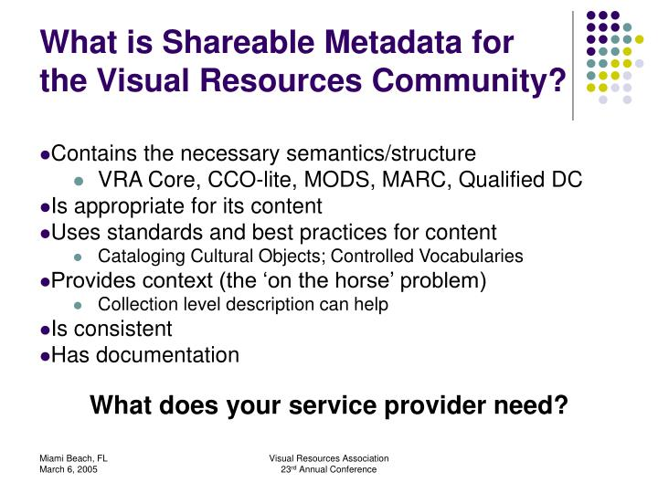 What is Shareable Metadata for the Visual Resources Community?