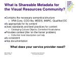 what is shareable metadata for the visual resources community