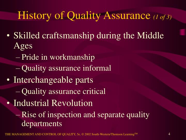 History of Quality Assurance