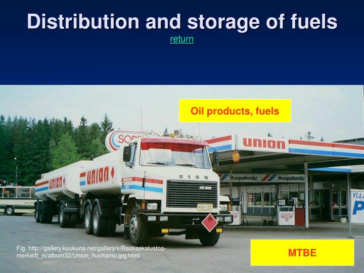Distribution and storage of fuels