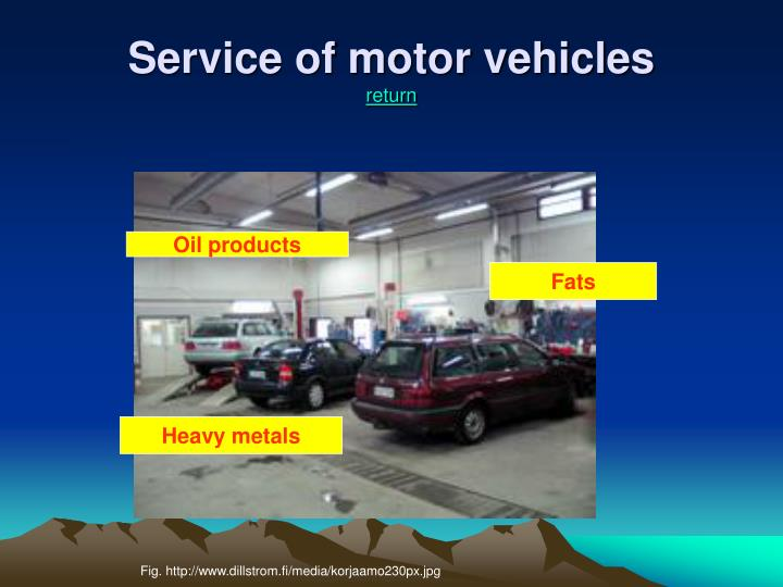 Service of motor vehicles