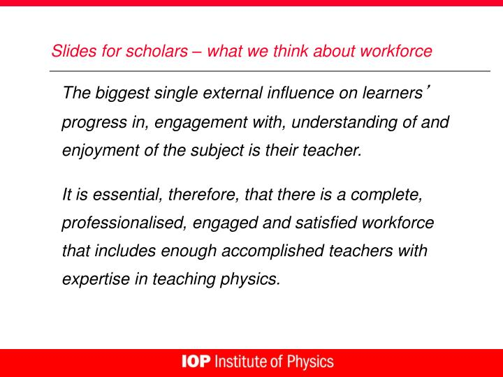 Slides for scholars – what we think about workforce