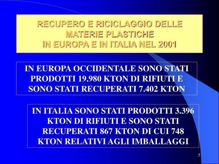 RECUPERO E RICICLAGGIO DELLE MATERIE PLASTICHE