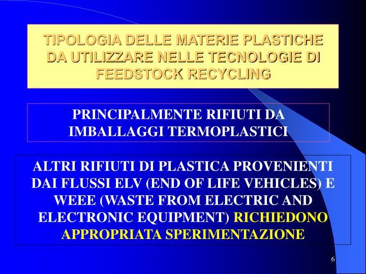 TIPOLOGIA DELLE MATERIE PLASTICHE  DA UTILIZZARE NELLE TECNOLOGIE DI FEEDSTOCK RECYCLING
