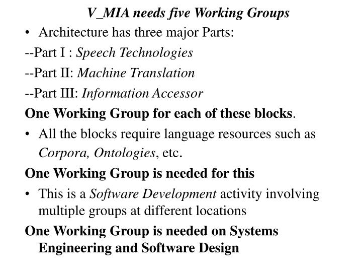 V_MIA needs five Working Groups