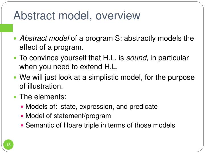 Abstract model, overview