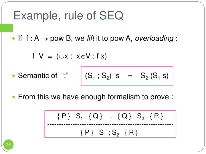 Example, rule of SEQ