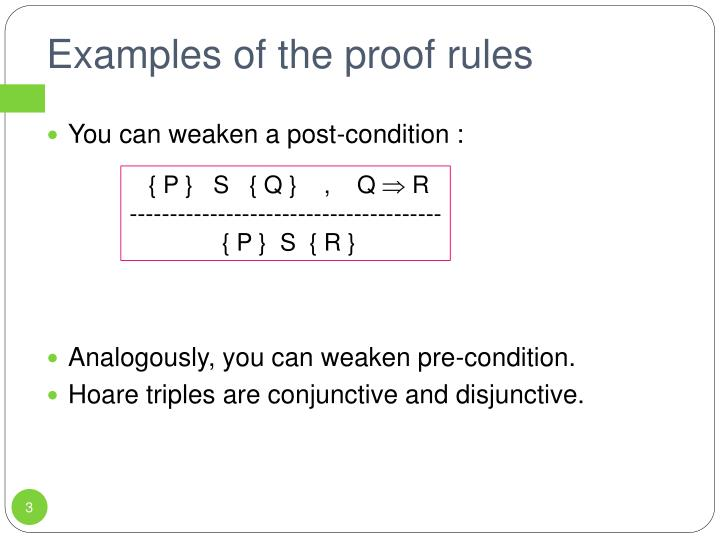 Examples of the proof rules
