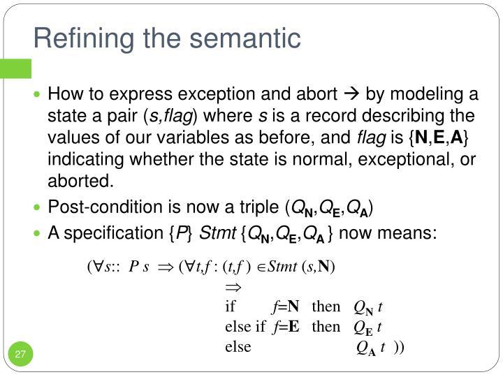Refining the semantic