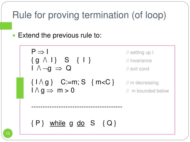 Rule for proving termination (of loop)