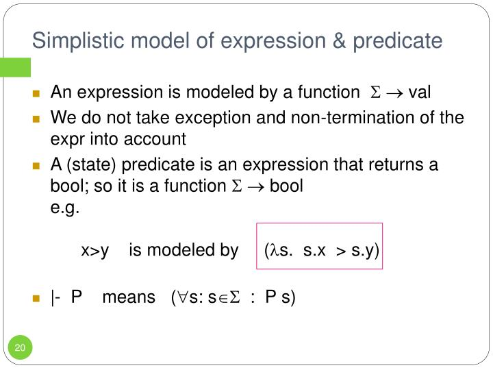 Simplistic model of expression & predicate