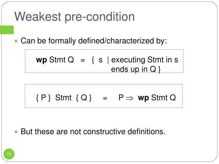 Weakest pre-condition
