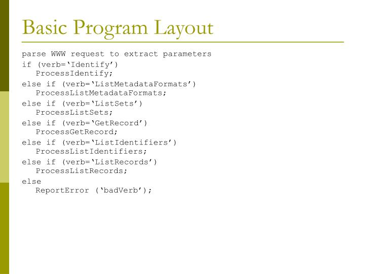 Basic Program Layout