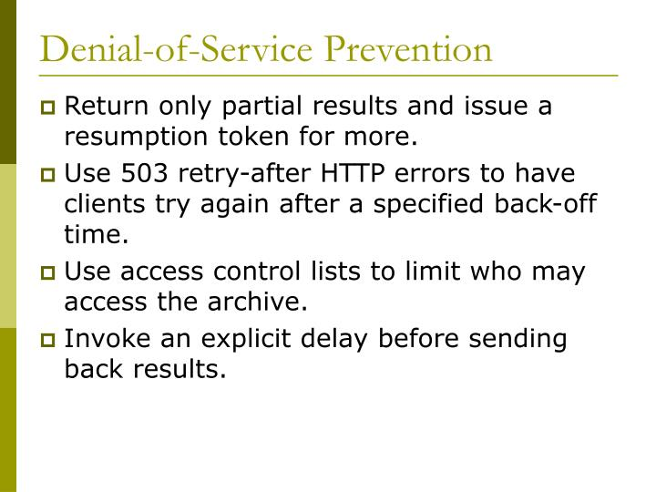Denial-of-Service Prevention