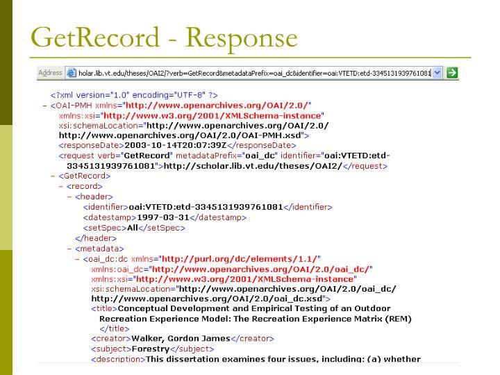 GetRecord - Response
