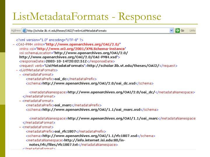 ListMetadataFormats - Response