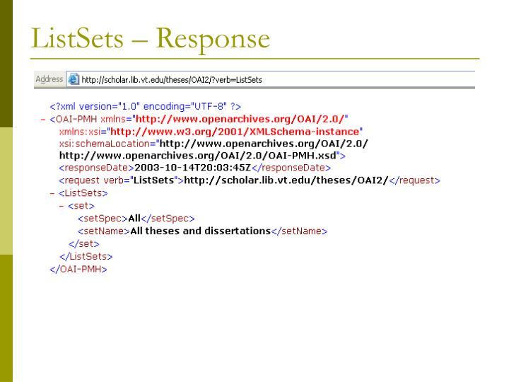 ListSets – Response