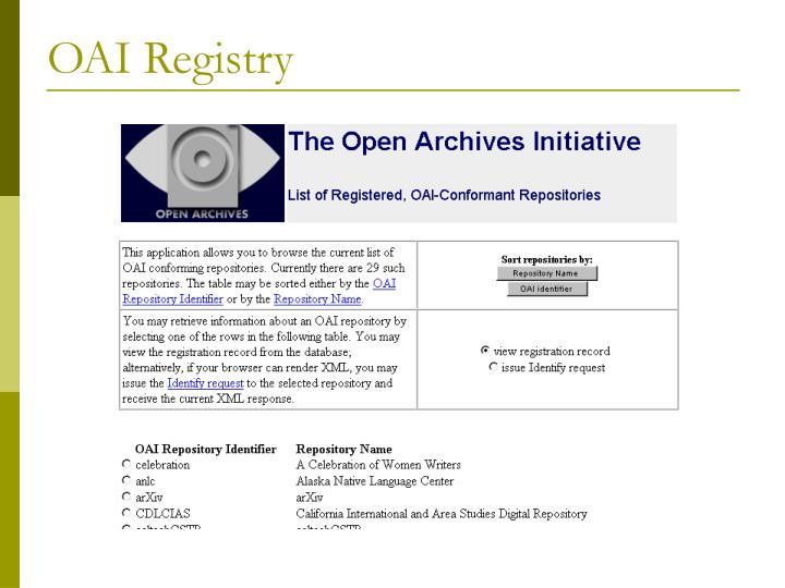 OAI Registry