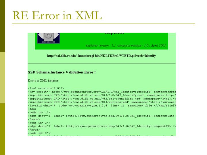 RE Error in XML