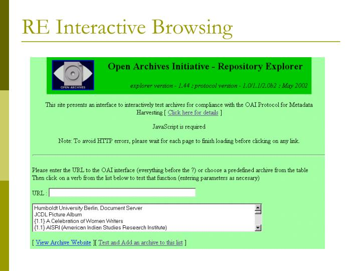 RE Interactive Browsing