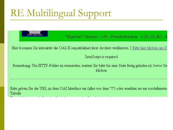 RE Multilingual Support