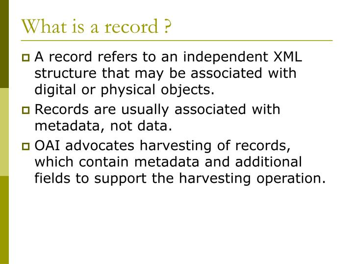 What is a record ?