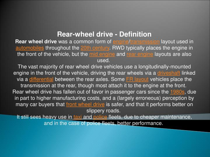 Rear-wheel drive - Definition
