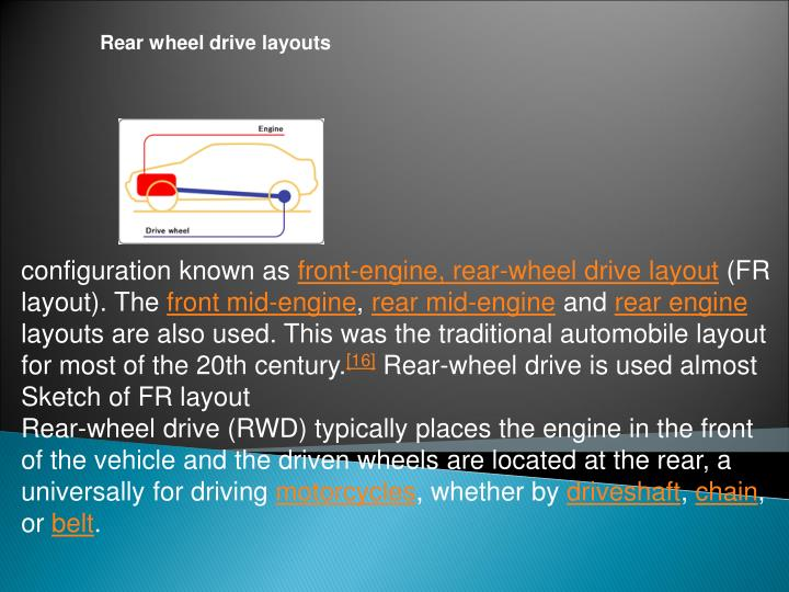 Rear wheel drive layouts