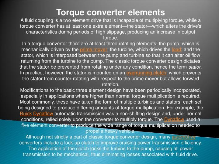 Torque converter elements