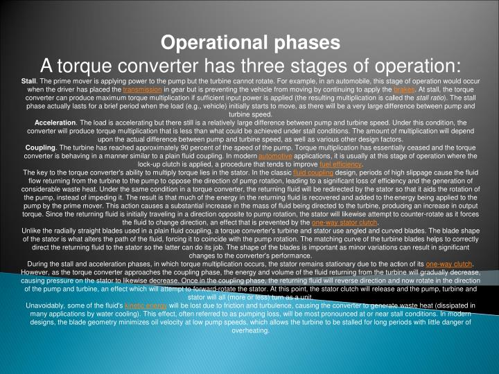 Operational phases