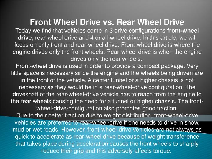 Front Wheel Drive vs. Rear Wheel Drive
