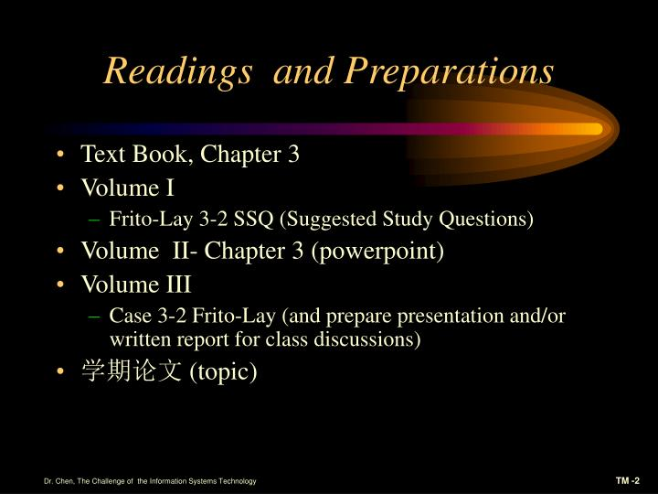 Readings and preparations
