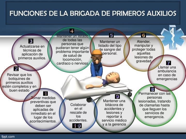 FUNCIONES DE LA BRIGADA DE PRIMEROS AUXILIOS
