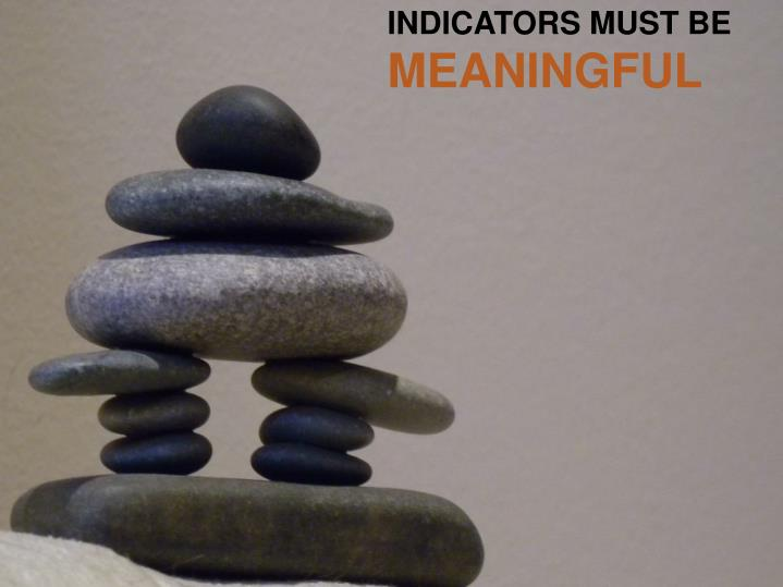INDICATORS MUST BE