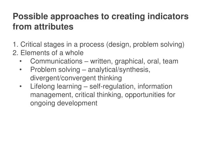 Possible approaches to creating indicators from attributes