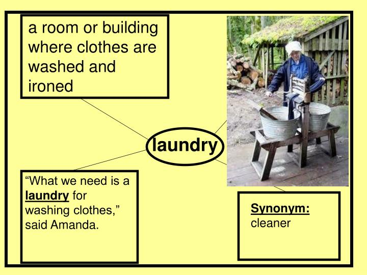 a room or building where clothes are washed and ironed