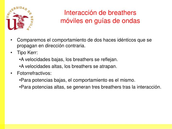 Interacción de breathers