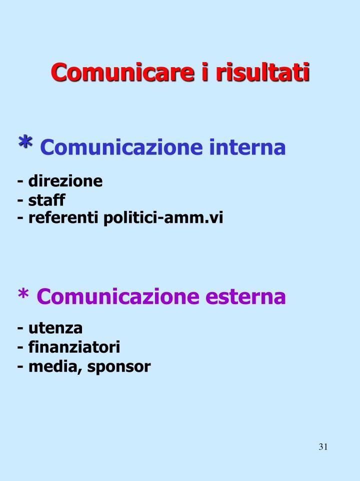 Comunicare i risultati