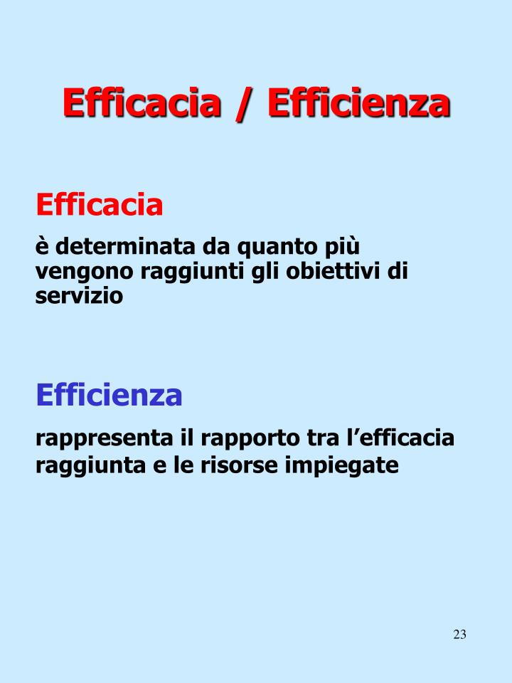 Efficacia / Efficienza