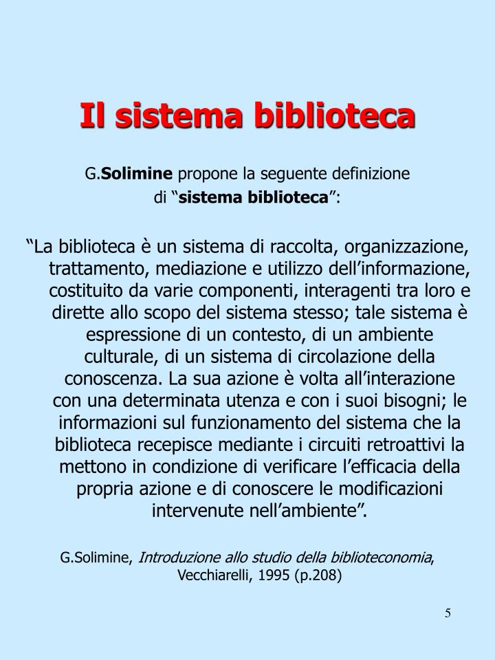 Il sistema biblioteca