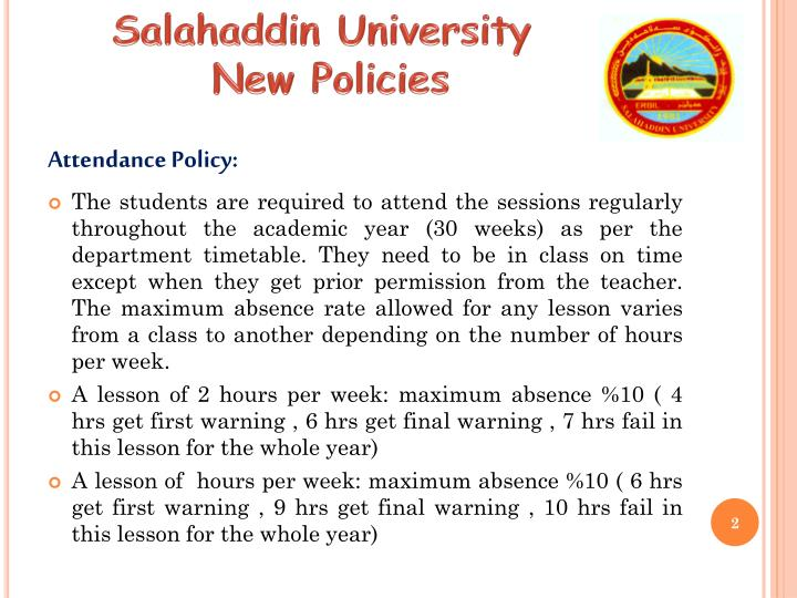 Salahaddin university new policies1