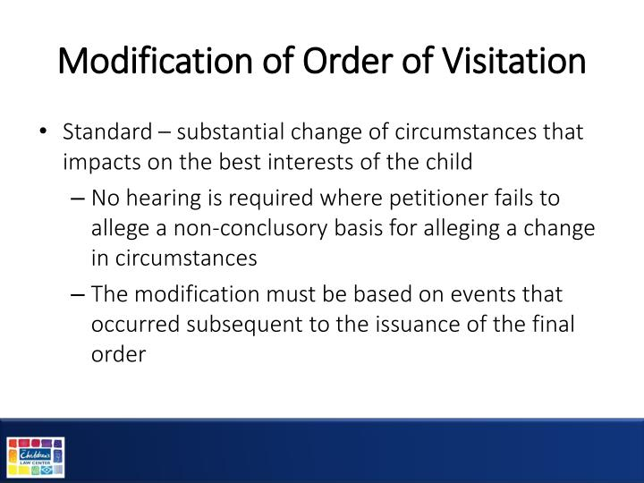 Modification of Order of Visitation